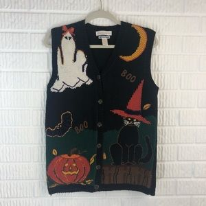 Halloween handknitted sweater vest button down